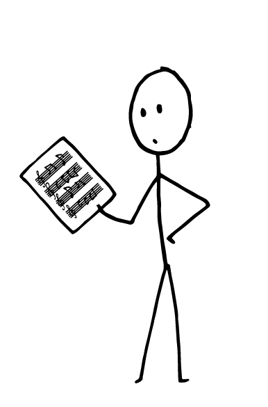 image of musician reading sheet music