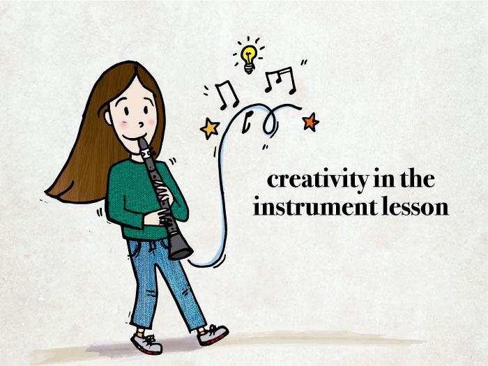 music student improvising on the clarinet