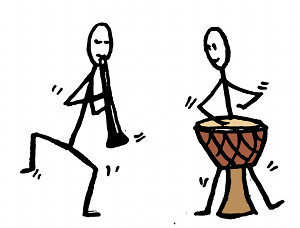 (image of clarinet and drums)