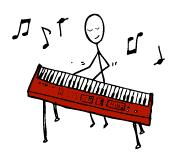 electric keyboard player