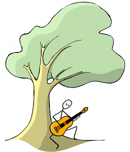 guitarist improvising under a tree